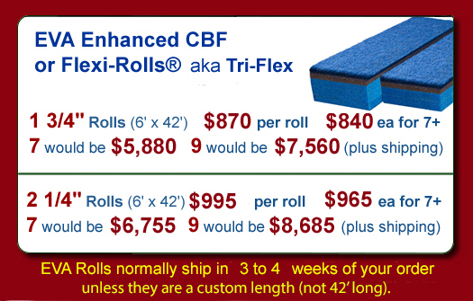EVA Carpet Bonded Foam or Flexi-Roll pricing